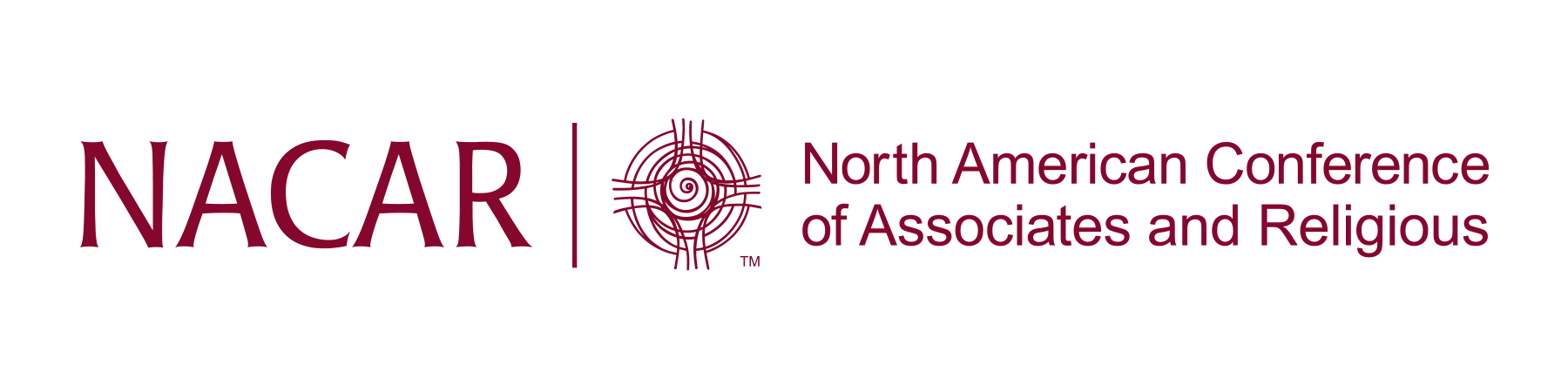NACAR Logo with NACAR on left, spiral symbol in middle and North American Conference of Associates and Religious on right