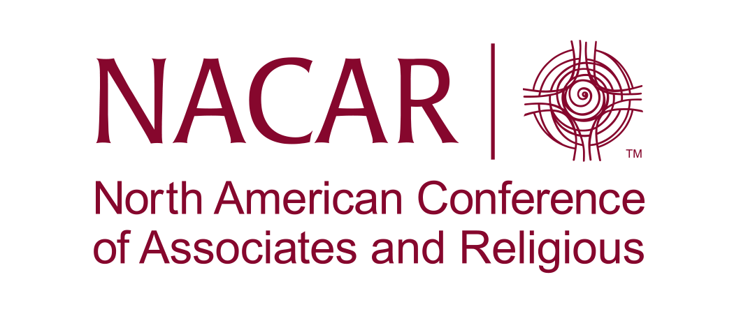 NACAR Logo with NACAR on left, spiral symbol on right, and North American Conference of Associates and Religious below